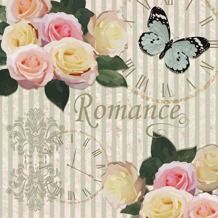 Fondo vintage con rosas y mariposas.