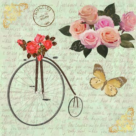 Uitstekende achtergrond met rozen, vlinders en oude fiets.