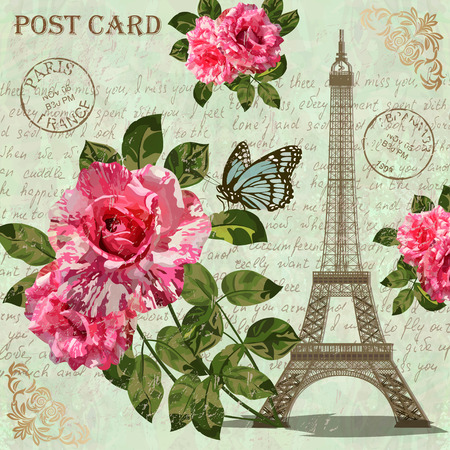 Paris vintage briefkaart. Stock Illustratie