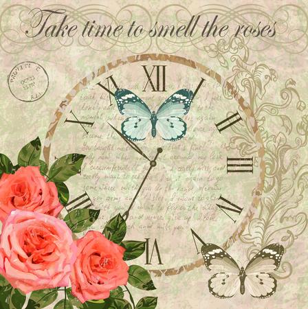Uitstekende achtergrond met rozen, vlinders en oude klok.
