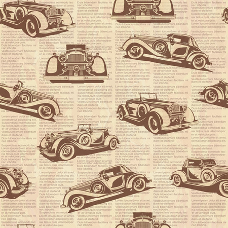oude krant: Seamless retro car old newspaper background.