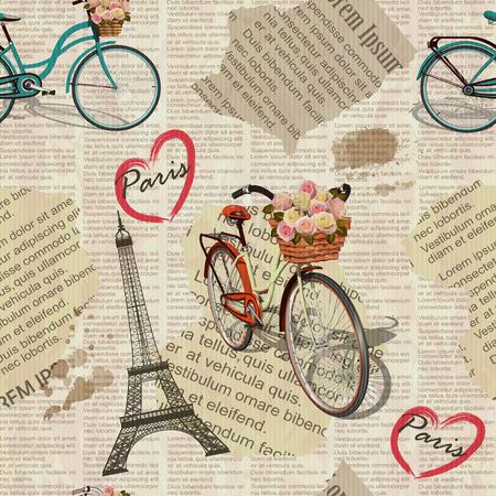Seamless Paris vintage newspaper background. 向量圖像