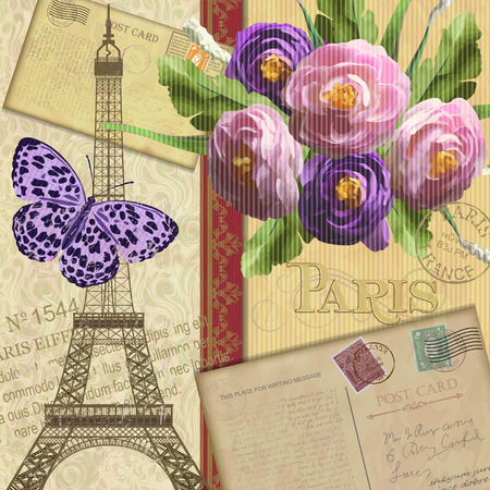 vintage: Paris vintage postcard.