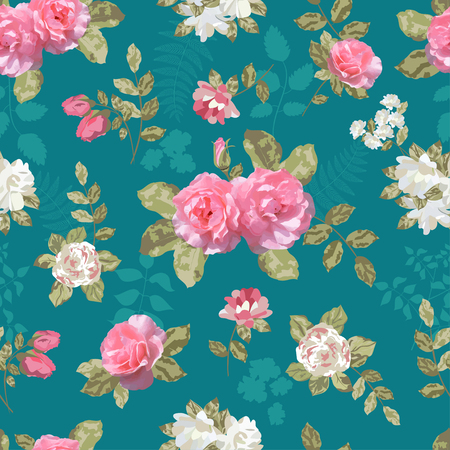 Seamless vintage background with roses 向量圖像