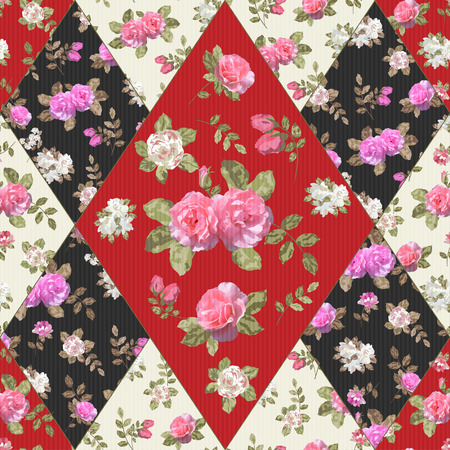 Seamless floral patchwork pattern with flowers. Illustration