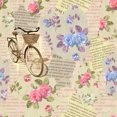 vintage: Seamless  vintage  bicycle torn newspaper background. Illustration