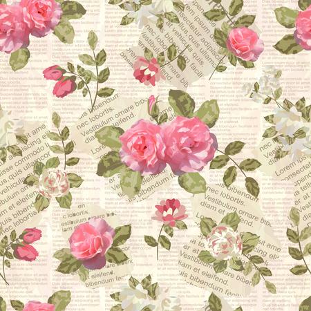 Seamless vintage floral torn newspaper background. Reklamní fotografie - 70277632