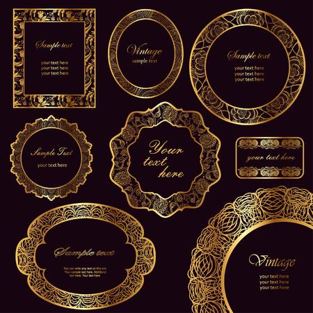 Set of elegant vintage frames with lace ornament