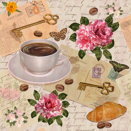 Seamless vintage background with roses, coffee cup,croissant and keys. Vettoriali