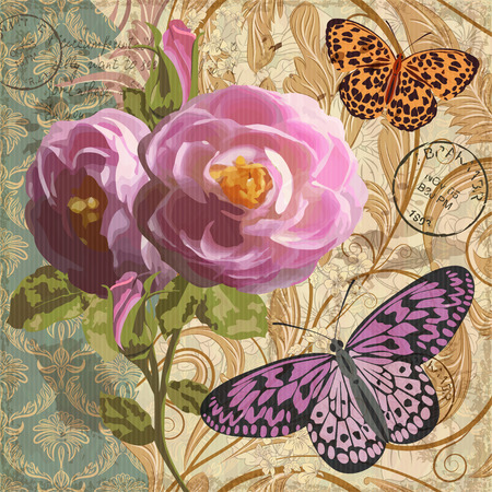 Vintage postcard with flowers and butterfly. Illustration