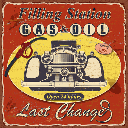 Vintage Filling station poster with retro car.