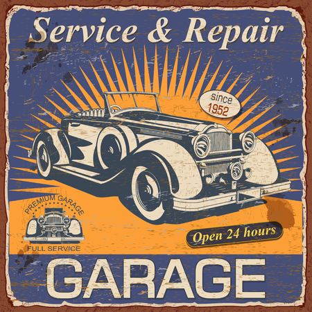 Vintage Garage poster with retro car.