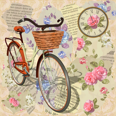 Vintage background with roses and bicycle illustration.