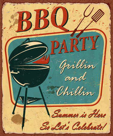 Vintage BBQ party poster with grill vector illustration.