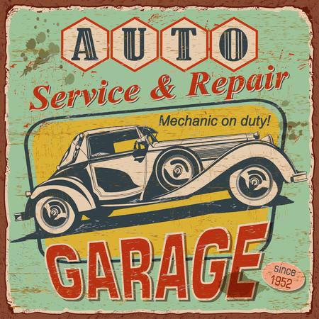 Vintage Auto Service poster with retro car illustration.