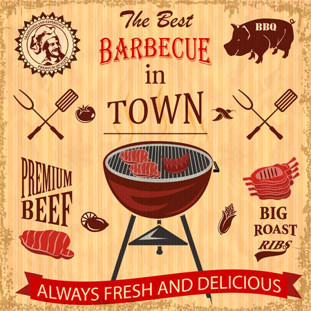 Vintage BBQ in town poster with grill illustration.