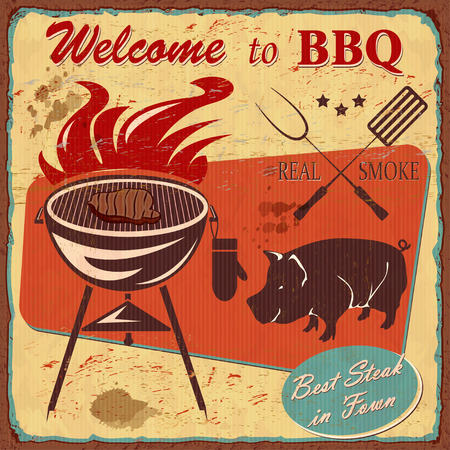 Vintage Welcome to BBQ poster with grill illustration.