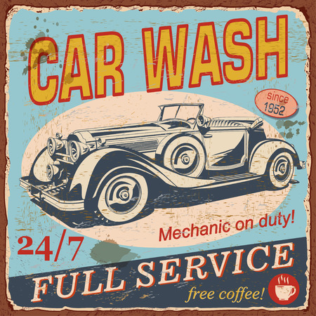 Vintage Car Wash poster with retro car illustration.