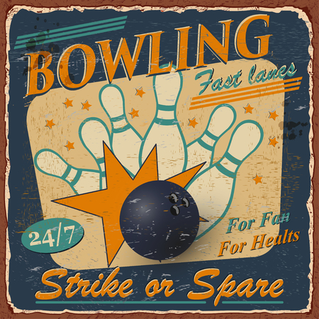 Vintage Bowling poster with bowling pins illustration.