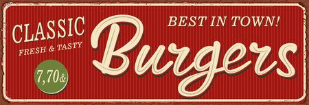 Vintage Burgers lettering metal sign illustration.