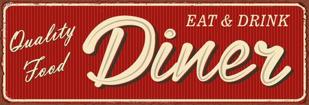 Vintage Diner lettering metal sign illustration.