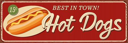 Vintage Hot Dogs lettering metal sign illustration. Ilustrace