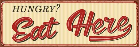 Vintage Eat Here lettering metal sign illustration. Ilustrace