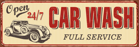 Vintage Car Wash metal sign. Ilustrace