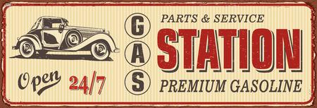 Vintage Gas Station metal sign. Vector Illustration