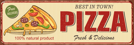 Vintage Pizza metal sign Vector illustration. Ilustrace