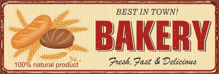 Vintage Bakery metal sign. Vector illustration.