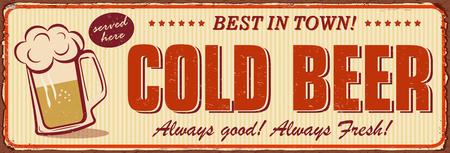 Vintage Cold Beer metal sign. Ilustrace