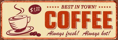 Vintage Coffee metal sign. Ilustrace