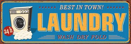 Vintage Laundry metal sign. Ilustrace