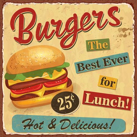 Vintage Burgers metal sign vector illustration design.