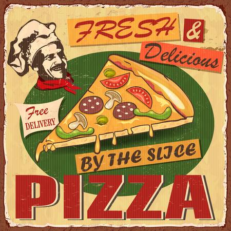 Vintage Pizza metal sign vector illustration design.