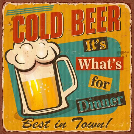 Vintage Cold Beer metal sign. Vector illustration. Ilustrace