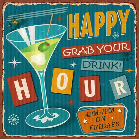 Vintage Happy Hour metal sign.