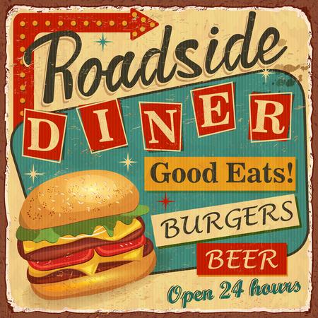 Vintage Roadside Diner metal sign. 免版税图像 - 100160933