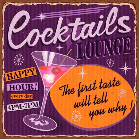 Vintage Cocktails metal sign. Ilustrace