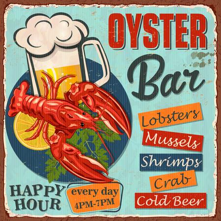 Vintage  metal sign with lobster,lemon slice and cold beer.