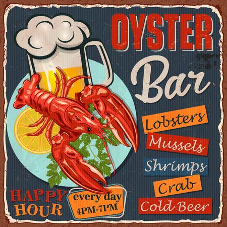 Signe en métal vintage avec homard, tranche de citron et bière froide. Vecteurs