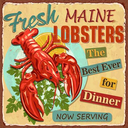 Vintage  metal sign with lobster and lemon slice.