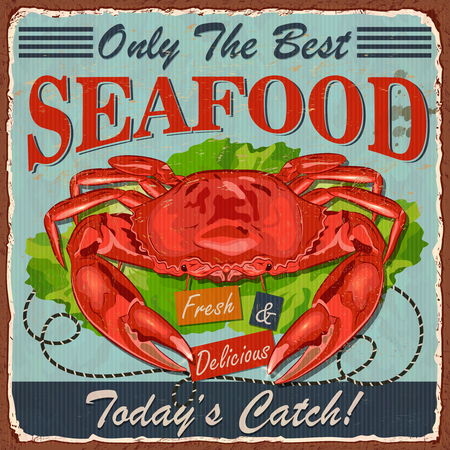 Vintage Seafood metal sign.