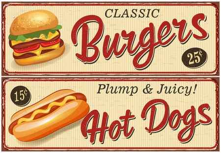 Fast Food vintage metal sign collection. Illustration