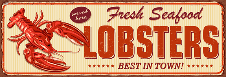 Vintage Lobster metal sign.