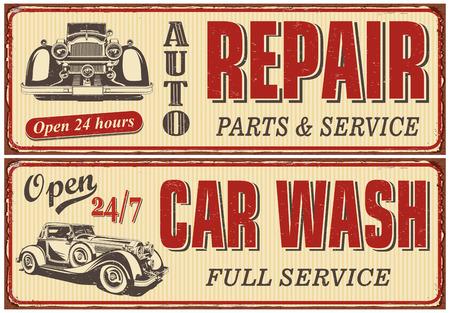 Vintage car metal sign collection.Auto Repair,Car Wash retro poster.