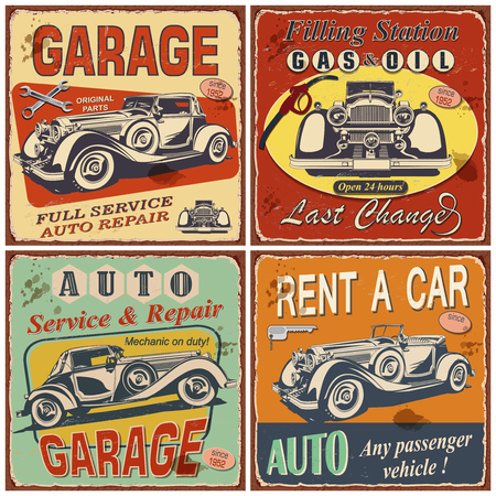 Set of retro car posters.Garage,Filling Station,Rent a Car, Repair and Auto Service Vintage metal sign.Vector illustration.