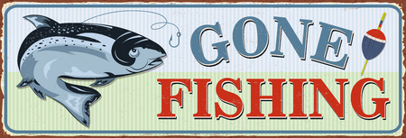 Vintage Gone Fishing metal sign. Vectores