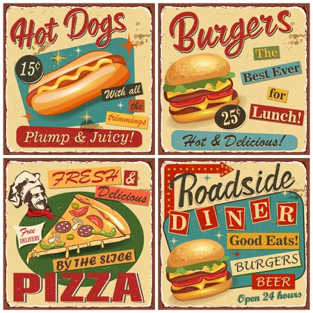 Colección de carteles de vector vintage de comida rápida. Retro Diner, hamburguesa, hot dog, pizza letrero de metal. Foto de archivo - 107484596